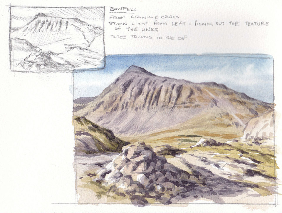 Bowfell sketchbook page