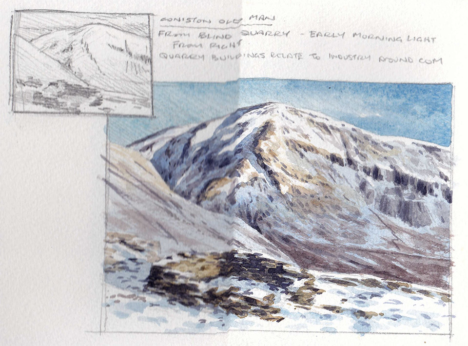 Coniston Old Man sketchbook page