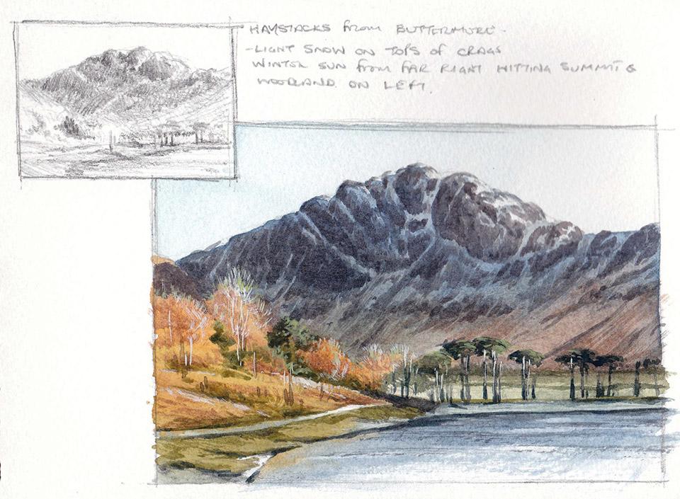 Haystacks sketchbook page