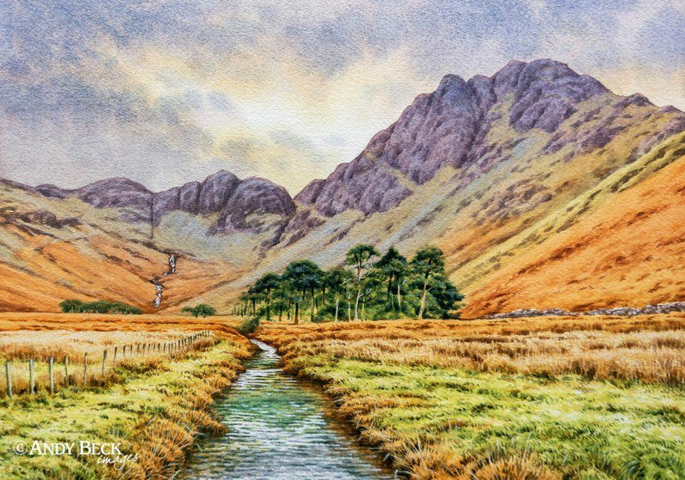 Hay Stacks Watercolour painting