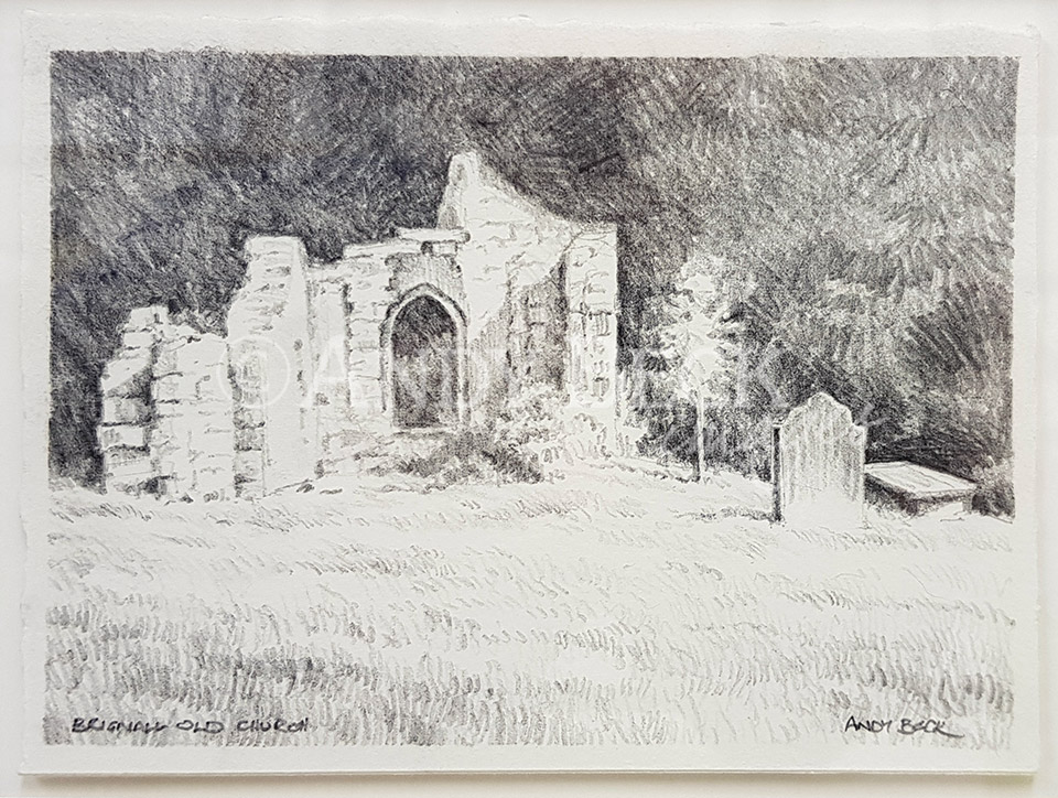 Brignall Old Church pencil sketch