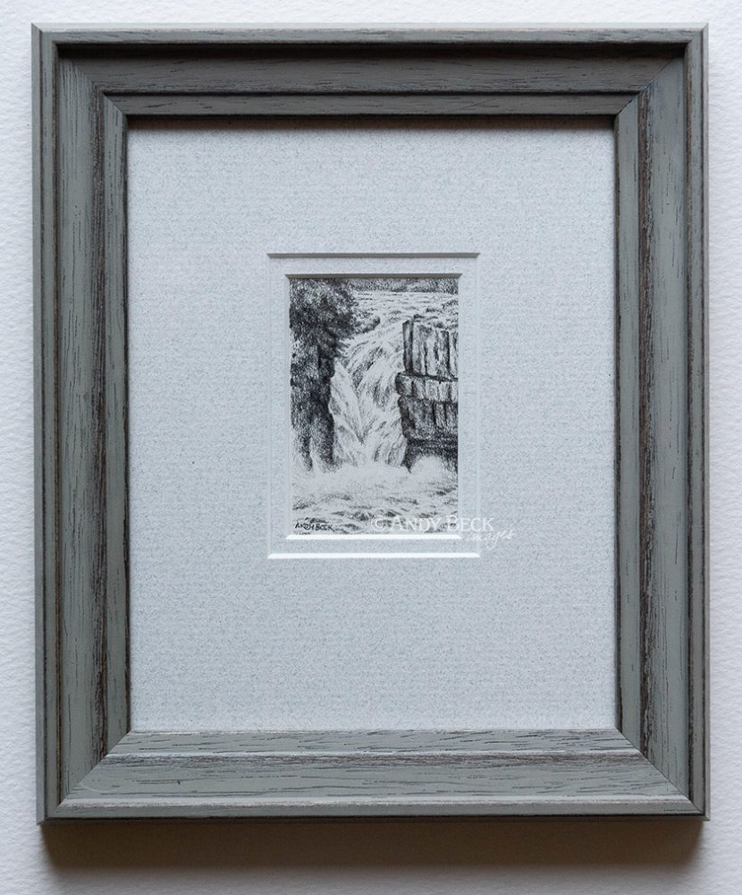 High Force small pencil drawing framed