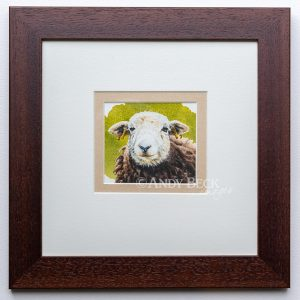 Herdwick small watercolour painting framed