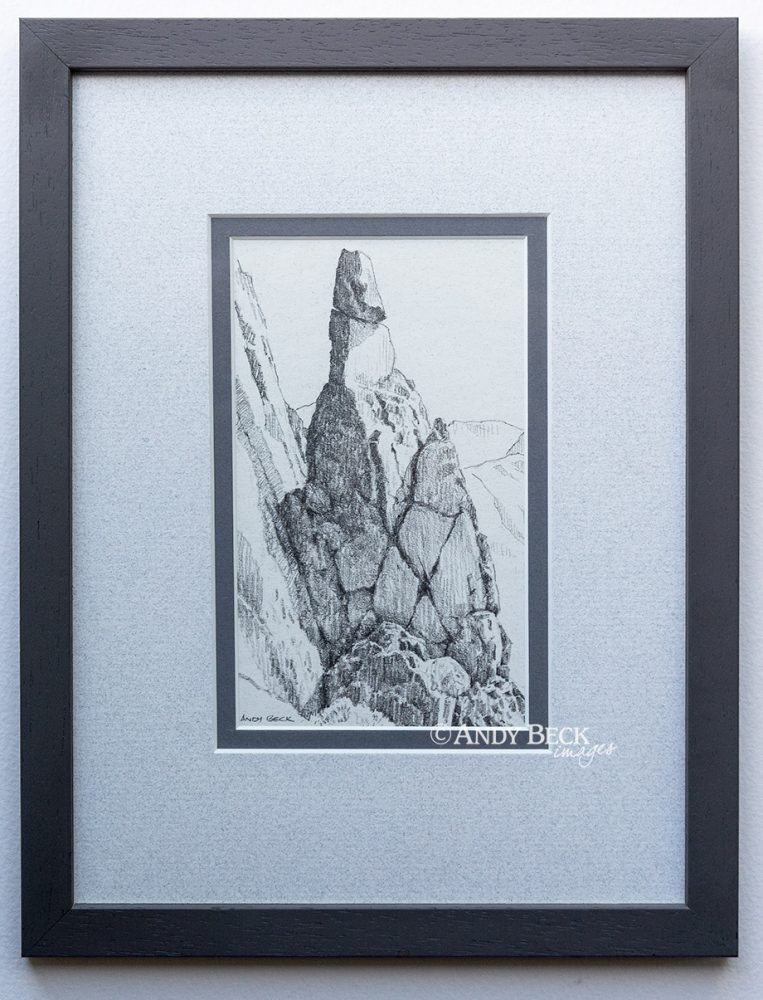 Napes Needle pencil sketch (framed)