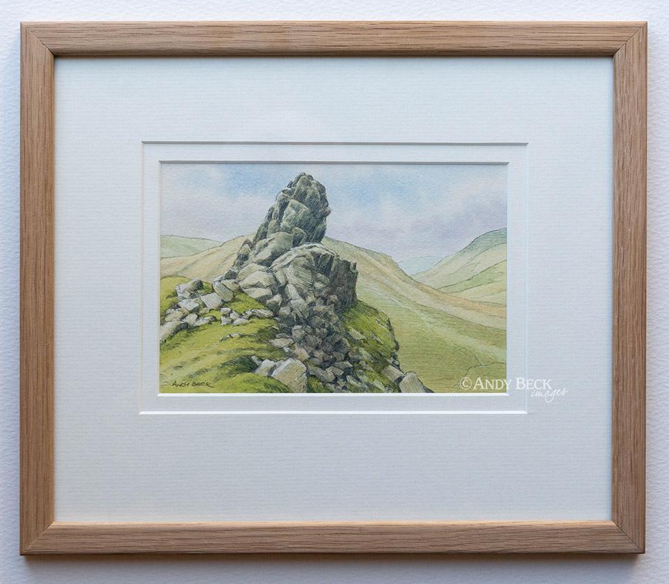 Helm Crag watercolour framed